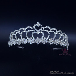 Double crown hair online shopping - Bridal Wedding Hair Accessories Jewelry Tiaras Pageant Crown Double Level Heart Rhinestone Crystal Headband Adjustable00689