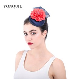 Discount hair accessories for elegant parties - Fashion fabric flower party hats loops navy fascinator wedding Alice band hair accessories for ladies elegant top headwe