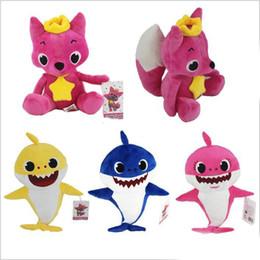 Baby Figures Australia - Plush Doll Baby Shark Pink Fox Stuffed Cartoon Action Figure Children Gift Novelty Toy Home Cushion Decoration 13hs hh