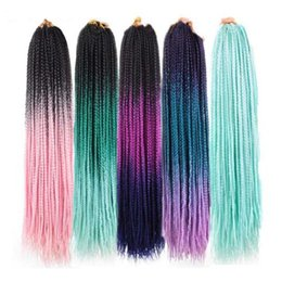 PurPle synthetic hair online shopping - Hot Sale inch Ombre Box Braid Hair Extensions Synthetic Crochet Braids Hair strands per pack Pure Purple Pink blue Color