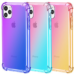 Discount drop proof phone - Transparent Gradient Shockproof Phone Case For iPhone 11 Pro Max 6 6S 7 8 Plus X XR XS MAX TPU Airbag Drop-proof Protect
