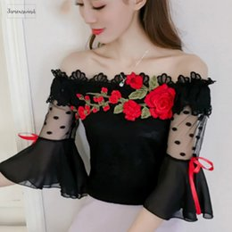 formal black lace tops Australia - Blouse Fashion Summer Women Shirt Flower Embroidery Flare Sleeve Lace Women's Cloting Sexy Black Women Tops Blusas 6811 30