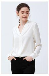 26ad9c7e9c7680 wholesale 100% silk fashion womens blouses shirts white Champagne long  sleeves v neckline womens clothing free shipping