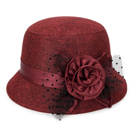 Flower Spring Top Australia - Party Women Hat Ladies Women Vintage Rose Flower Felt Fedora Hat Spring Fall Bucket Cap