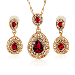 $enCountryForm.capitalKeyWord NZ - Hot American wedding jewelry multiple shiny crystal bridal veil accessory water drop necklace earrings set