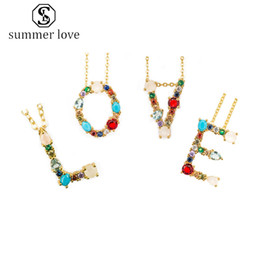 rhinestone letter chokers Australia - New Arrival Colorful 26 Initial Letter Pendant Necklace for Women Lover Multicolored Rhinestone-plated Gold Necklace Party Jewelry Gift-Y