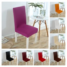 Banquet taBles chairs online shopping - Semi elastic cover Pure color hotel dining chair and chair cover Simple wedding banquet table and chair cover cushion T3I5045