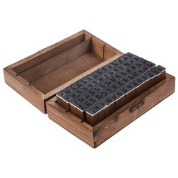 Chinese  New Pack of 70pcs Rubber Stamps Set Vintage Wooden Box Case Alphabet Letters Number Craft (No Ink Pad Included) manufacturers