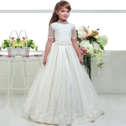 $enCountryForm.capitalKeyWord NZ - 2019 Charming Girls First Holy Communion Gowns Lace Bodice Organza Embroidery Skirt Short Sleeve Long Holy Communion Dresses