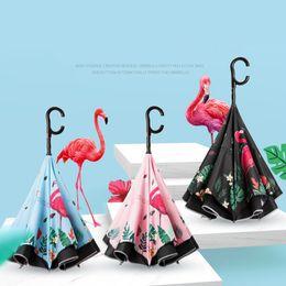 Flamingo Reverso Guarda-chuva de Segurança Refletor Bar de dois andares Semi-automático Umbrella para Veículos de Pesca ao ar livre chuva sol Umbrella FFA1967 em Promoção