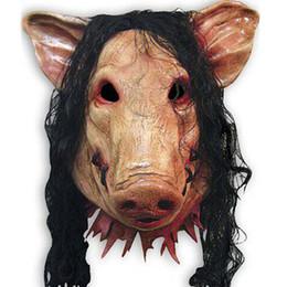 $enCountryForm.capitalKeyWord Australia - Halloween Scary Masks Novelty Pig Head Horror With Hair Masks Caveira Cosplay Costume Realistic Latex Festival Supplies Mask