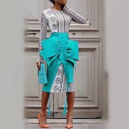 $enCountryForm.capitalKeyWord Australia - 2 Pieces Sets Spring Women Pencil Skirts With Printed Dresses Suits Elegant Big Bowtie Slim Split Jupes Lady Fashion 2019 Summer