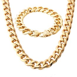 $enCountryForm.capitalKeyWord NZ - 15mm Gold Tone Cut Double Curb Link Mens Chain Boys 316L Stainless Steel Necklace Bracelet Set Wholesale Jewelry Gift