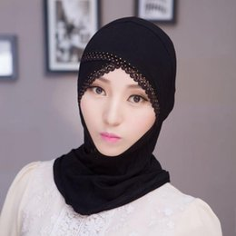 lace hijab caps Australia - ZFQHJJ Women Muslim Lace Rhinestone Under Scarf Hijab Caps Bonnet Ladies Stretch Modal Cotton Inner Islamic Scarf Hijabs Cap