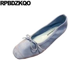 Designer Bow Flats Australia - Women Round Toe Work Green Flats Bow Blue Suede Watermelon Designer Ballerina Slip On Shallow Wedding Ballet Shoes Gray Yellow