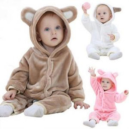 Bear jumpsuit online shopping - INS Baby Animal Rompers Flannel Bear Jumpsuits Pajamas Cartoon Infant Climbing Clothes Kids Sleepwear Outfit Home Clothing OOA6276