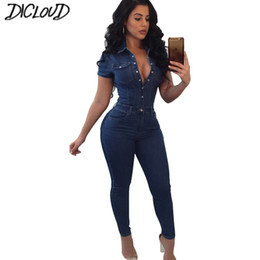 Jumpsuits Tights Australia - Casual Stretch Large Size Bodysuit Women 2018 Fashion Tight Denim Jumpsuit Female Simple Button V Collar Summer Long Jumpsuit T5190614