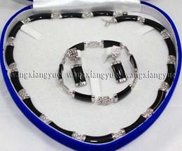 $enCountryForm.capitalKeyWord Australia - Women's Wedding fast shipping> >Natural Black stone Link Necklace Bracelet earrings Set silver- moda real silver-jewelry