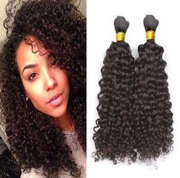 Brazilian afro Braid online shopping - Mongolian Afro Kinky Curly Bulk Hair Kinky Afro Hair Bulk Human Hair For Braiding Bulk No Attachment Kinky Curly