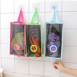 breathable storage bags UK - Breathable Mesh Trash Bag Storage Bags Kitchen Hanging Storage Bag Multifunction Vegetables Wall Hanging Organizer Storage Bag BC BH0800-1