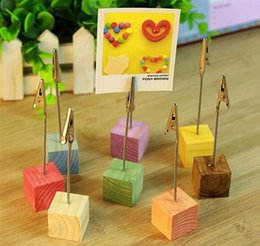 photo place card holders Canada - Wooden Base Memo Photo Holder Card Paper Note Clip Wedding Place Name Card Holders Party Decoration