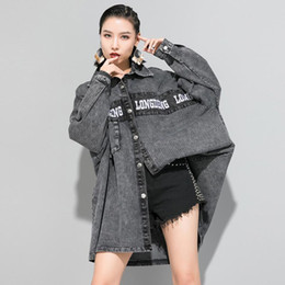Wholesale boyfriend cardigans resale online - Women Oversized Loose Washed Denim Cardigan Windbreaker Female Streetwear Hip Hop Boyfriend Irregular Jean Trench Jacket Coat