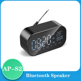 phone dock radio UK - Mini Bluetooth Speaker Wireless Stereo Portable LCD FM Radio Alarm Clock Outdoor Speaker Music box