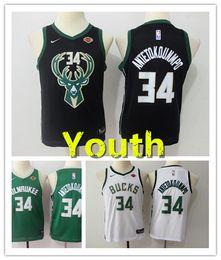 Kids embroidered shirt online shopping - 2019 New Youth Antetokounmpo Milwaukee Buck Kids Basketball Jersey Stitched Antetokounmpo Boys Basketball Shirts Green White Black