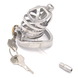 Urethral Device Bondage Australia - Male Chastity Device Bondage Cage with Urethral Catheter Sounds Stainless Steel Cock Cage Arc Ring Sex Toys for Men G243B