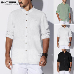 men shirt 5xl long sleeve Australia - wholesale Vintage Mens Casual Long Sleeve Brand Shirt Solid Stand Collar Cotton Button Retro Men Shirts Loose Camisa 2019 S-5XL