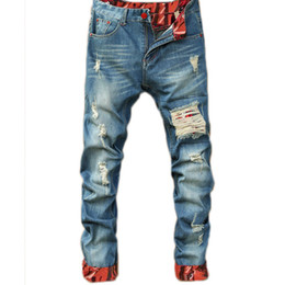 Wholesale dark blue mens jeans for sale – denim Mens Casual Straight Jeans Retro Slim Skinny Jeans Fashion Designer Ripped Men Hip Hop Light Blue Denim Pants