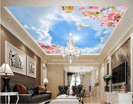 Peaches Fiber Australia - WDBH 3d ceiling mural wallpaper custom photo Beautiful romantic blue sky peach pigeon room Home decor 3d wall murals wallpaper for wall 3d