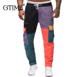 pants block UK - Gtime Dropshipping Man Pants Color Block Patchwork Corduroy Pant Streetwear Harajuku Jogger Sweatpant Cotton Trousers 2019 ZS56