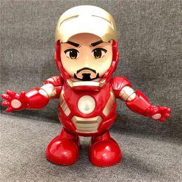 Figures Australia - Dance Hero Iron Man Robot Dancing Iron Man Action Figures Glowing Avengers Superhero Doll Toys With Music