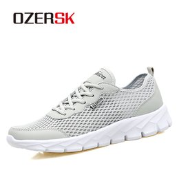 mens summer lace casual shoes Australia - OZERSK Fashion Men Casual Shoes 2019 Spring Summer Breathable Mesh Lace Up Flats Mens Shoes Male Sneakers Big Plus Size 35-48