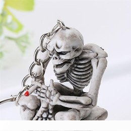 acrylic skull pendant wholesale Canada - Skull Toilet Rubber Pendant Keychain Purse Bag Car Charm Keyring Key Chain For Women Men Fashion Gifts