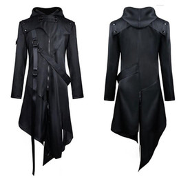 Discount trench coat men punk Mens Vintage Punk Trench Coats Jackets Gothic Belt Swallow-Tail Coat Long Sleeved Vintage Halloween Long Uniform Male outfit