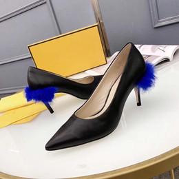 $enCountryForm.capitalKeyWord Australia - Fashion Designer Blue mink High Heels Tapered Furryous court shoe Pointed Toe women Genuine Leather pumps brand Wedding Party Dress Shoe
