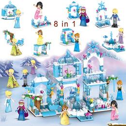 $enCountryForm.capitalKeyWord Australia - 8 in 1 Model Frozen Ice Castle Princess Kristoff Mermaid Ariel Building Block Toy For Girl Children