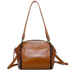 Brown Cow Leather Bags Australia - Nice Pop Genuine Leather Women Shell Handbags For Female Cow Leather Brown Red Single Shoulder Bags Lady Fashion Bag