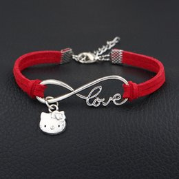 silver lucky cat bracelet UK - New Classic Lucky Men Women Silver Infinity Love Lovely Cat Pendant Bracelets & Bangles Handmade Red Leather Suede Velvet Rope Jewelry Gifts