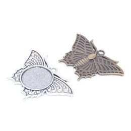 $enCountryForm.capitalKeyWord UK - butterfly pattern blank metal cabochon setting base 20mm dia diy pendant blanks base trays for necklace making