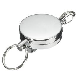 $enCountryForm.capitalKeyWord UK - Unisex Men Women Elastic Key Chain Stainless Steel Sporty Retractable Recoil Key Chain Anti Theft Metal Ring Belt Clip 3pcs set