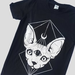 tops tshirts for girls NZ - Hahayule Punk Gothic Sphynx Cat Head Moon Printed T-shirts Black Witch Symbol Tshirts For Goth Girls Female Cotton Tee Tops Y19060601