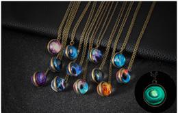 $enCountryForm.capitalKeyWord Australia - Double-sided glass ball luminous necklace Harajuku universe dream starry gemstone couple pendant jewelry Western Popular Wearing young love