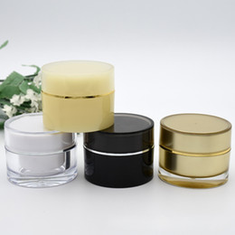 Discount acrylic 15g cosmetic jars 15g 20g Empty Acrylic Cream Cans Cosmetic Sample Jars Portable Refillable Makeup Containers