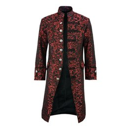 tailcoats costumes Australia - OEAK 2019 New Mens Retro Tailcoat Jacket Goth Long Steampunk Formal Gothic Victorian Frock Coat Costume for Halloween
