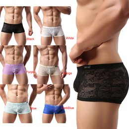 ventilating lace Australia - 2017 New Fashion Men's Sexy Translucent Boxer Briefs Intimates Soft Lace Floral Ventilate Exotic Boxer Sexy Shorts Underpants
