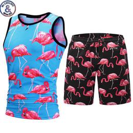 $enCountryForm.capitalKeyWord Australia - Stylish 3d Flamingo Print Mens Tank Tops Shorts Set Novelty Summer Beach Tracksuit 2 Pieces Sets Gym Sleeveless Vest Sweatsuit