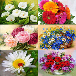 Paintings Vases Australia - Flower Arranging 5d Diy Painting Flowers Cross Stitch Diamond Embroidery Mosaic Diamonds Wall Stickers Home Decor Vase Q190511